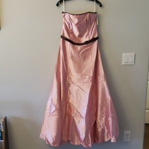 NWT. Pink satin strapless gown